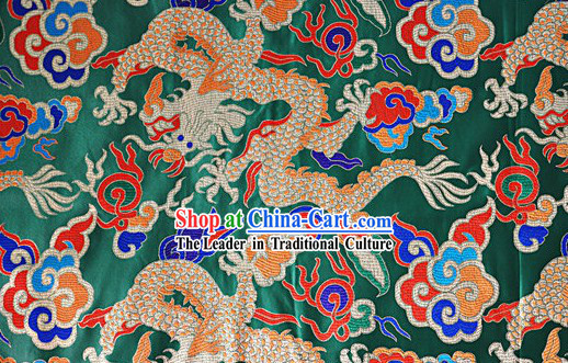 Chinese Green Dragon Brocade Fabric