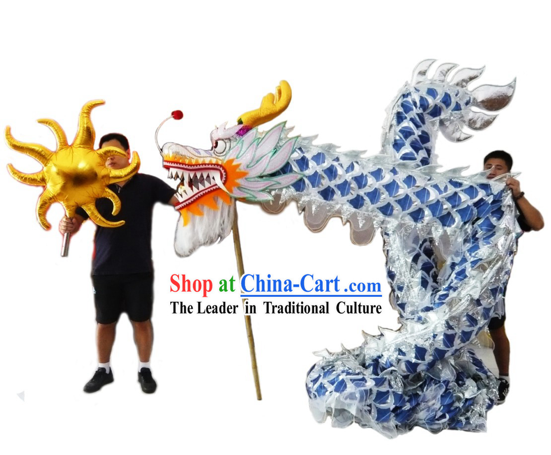 Competition and Performance Silver Lightweight Net Dragon Dance Costumes Complete Set
