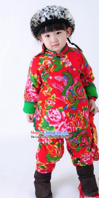 Traditional Chinese Spring Festival Celebration Clothing for Kids