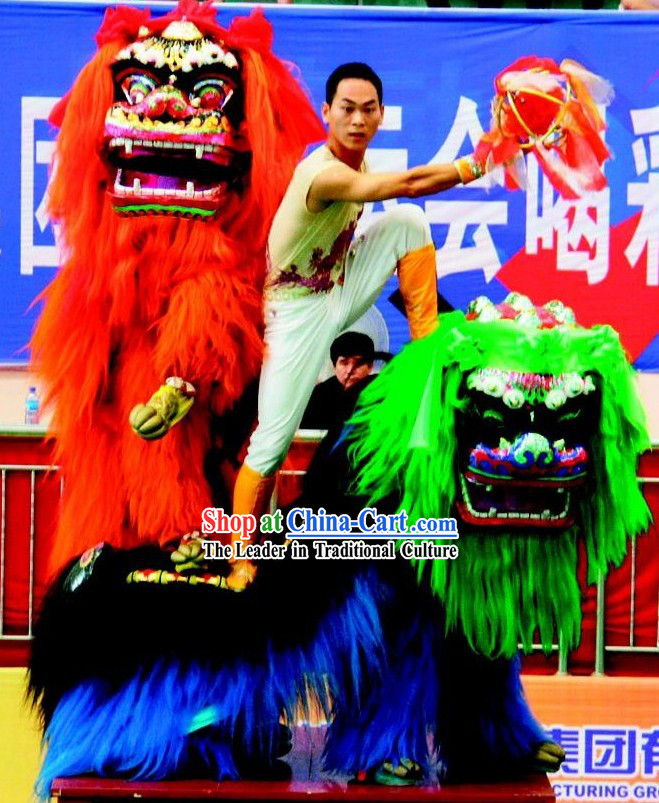Long Yak Fur Northern Lion Dance Costume 2 Complete Sets
