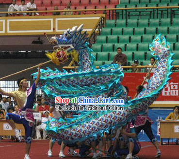 Competition Blue Dragon Dance Costume Complete Set