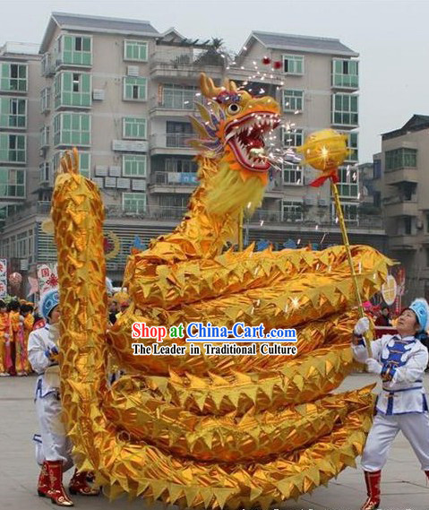 Flaming Shinning Golden Dragon Dance Costume Complete Set
