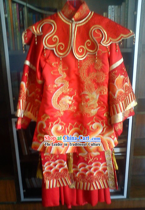 Traditional Chinese Dragon Phoenix Lucky Red Wedding Dress