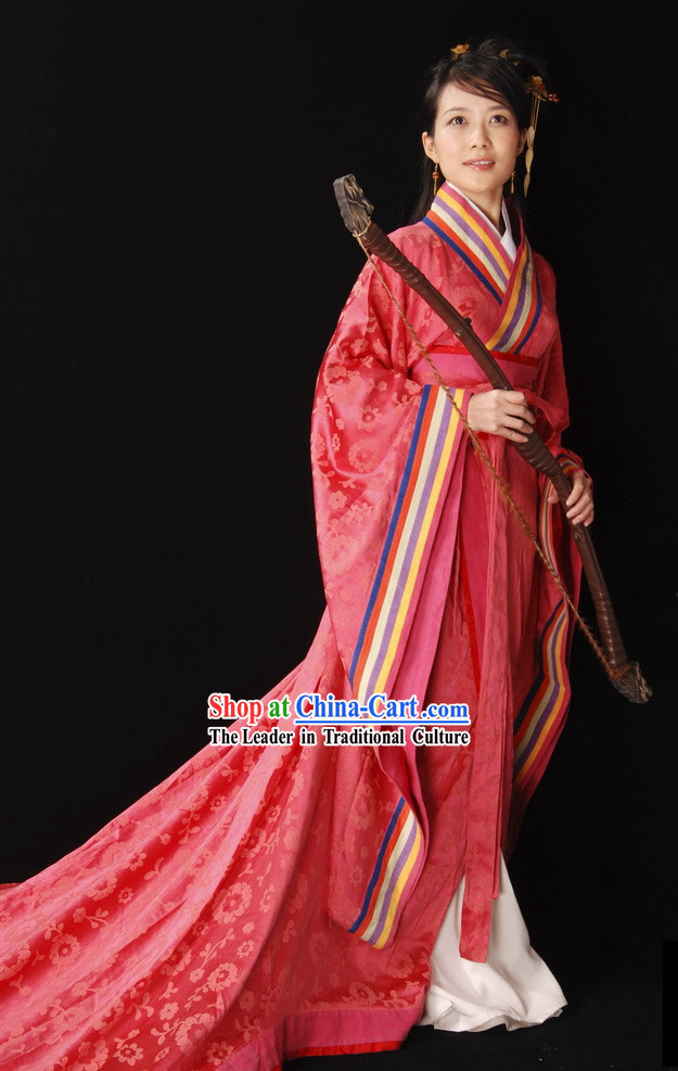 Chinese Classical Bride Wedding Dress Complete Set with Long Veil