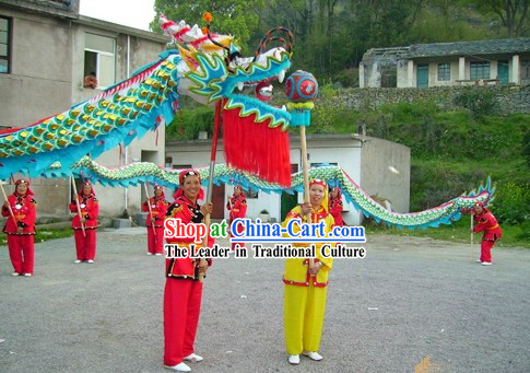 Traditional Chinese Blue Armor Dragon Dance Costume Complete Set