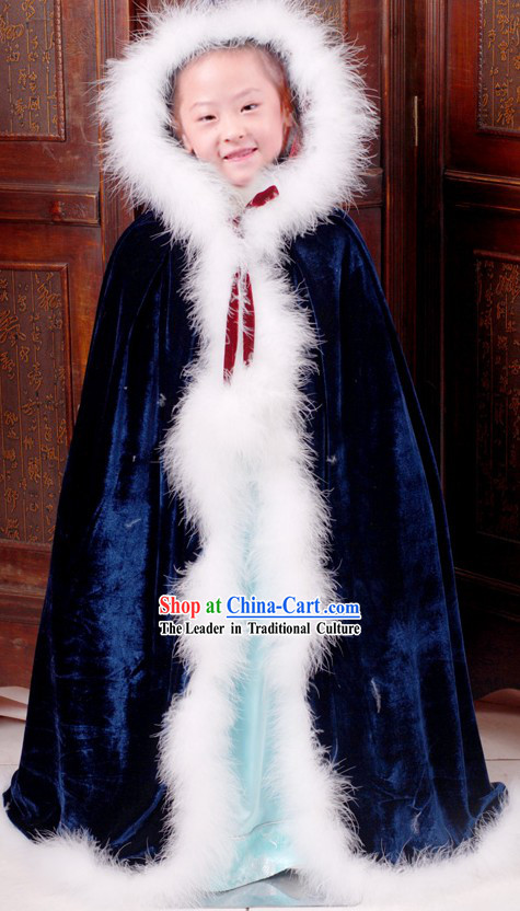 Ancient Chinese Long Winter Cape for Kids