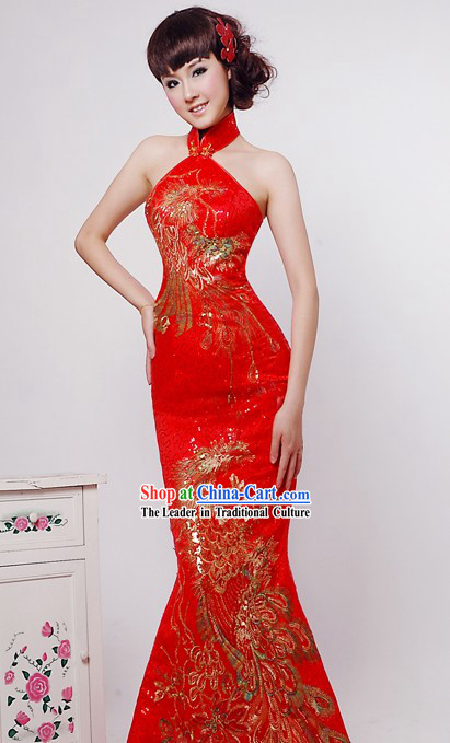 Lucky Red Phoenix Wedding Dress for Girl