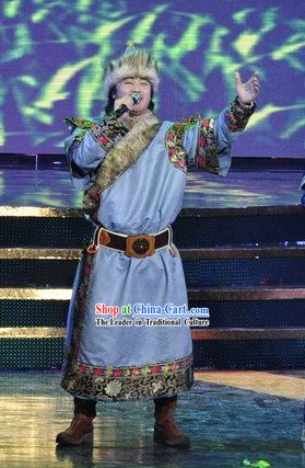 Chinese Mongolian Men Singer Clothing and Hat Set