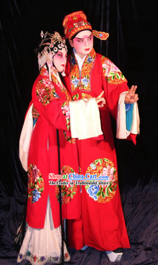 Peking Opera Wedding Dress 2 Sets for Bride and Bridegroom