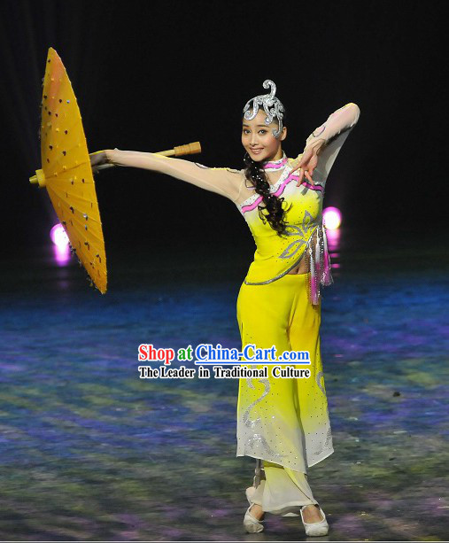 Chinese Umbrella Dance Costume and Hair Decoration Set