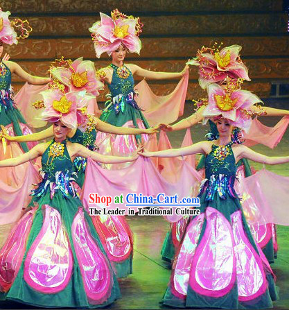 Chinese Flower Dance Costume and Hat Complete Set