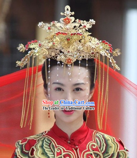 069efa8afdb Chinese Golden Wedding Phoenix Crown   Traditional Wedding Hat   Ancient Wedding  Hat