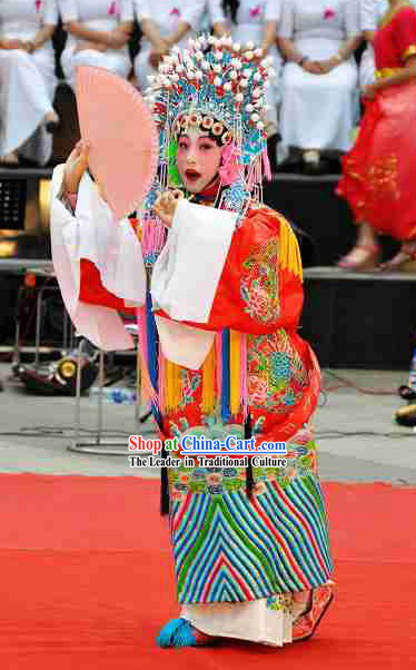 Peking Opera The Imperial Concubine Got Drunk (Guifei Zui Jiu) Costume and Crown Set for Children
