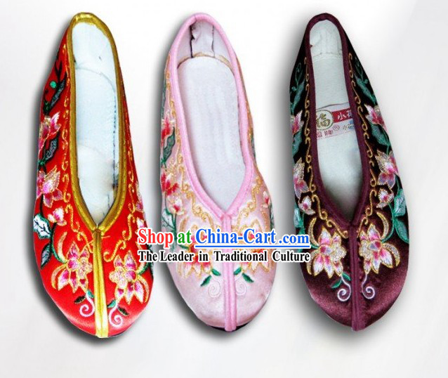 Chinese Flower Embroidery Shoes for Children