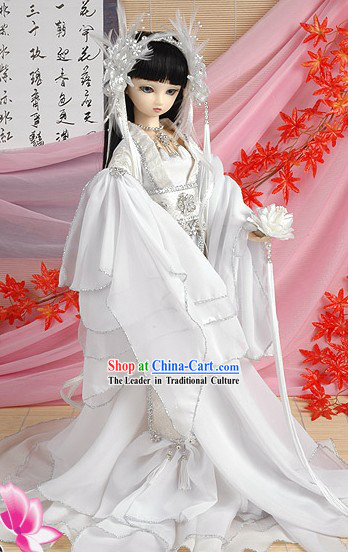 Supreme Chinese White Wedding Bride Veil, Hair Decoration and Wig Complete Set