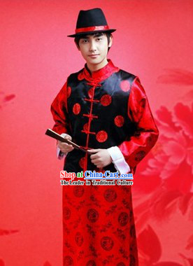 Chinese Wedding Bridegroom Dress and Hat Complete Set