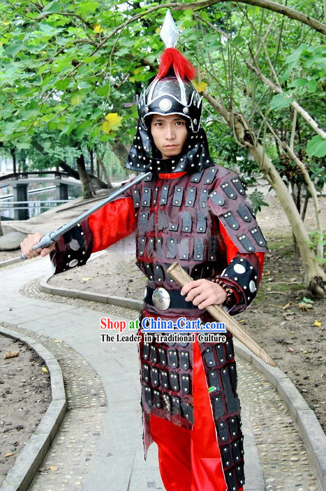 Ancient Chinese General Armor Costumes and Helmet Complete Set