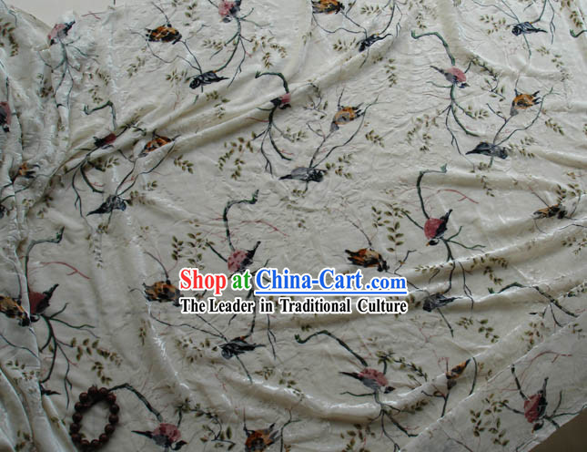 Traditional Chinese Bird Painting Silk Fabric