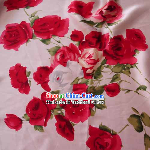 Traditional Chinese Rose Silk Fabric