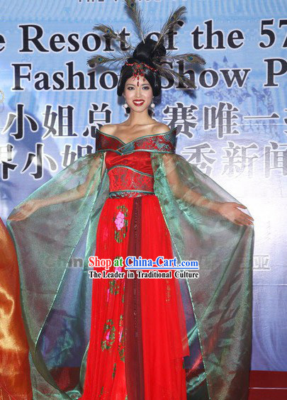 Chinese Beauty Pageant Competition Costumes and Hair Decoration Complete Set