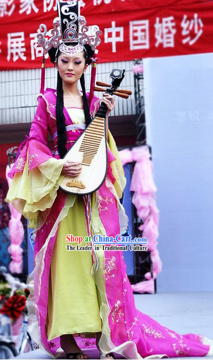 Traditional Chinese Musician Costumes and Headpiece Complete Set