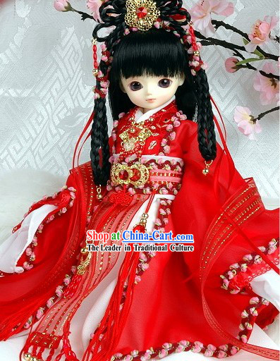 Chinese Ancient Princess Lucky Red Female Costumes Complete Set