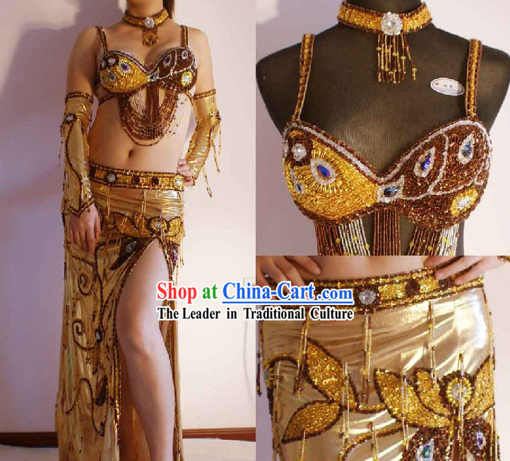 Top Golden Belly Dance Costumes Complete Set for Women