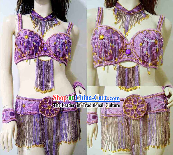Professional Competition Purple Belly Dance Costumes Complete Set for Women