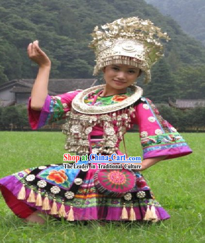China Miao Performance Costume and Accessories Set