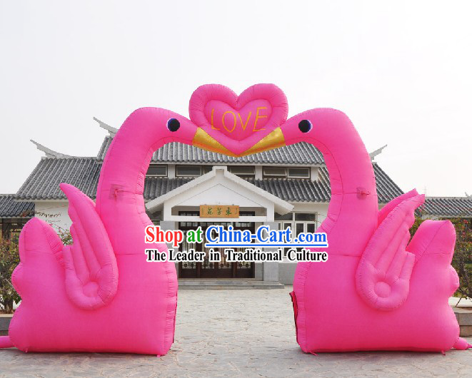 Large Romantic Wedding Infatable Swan Arch