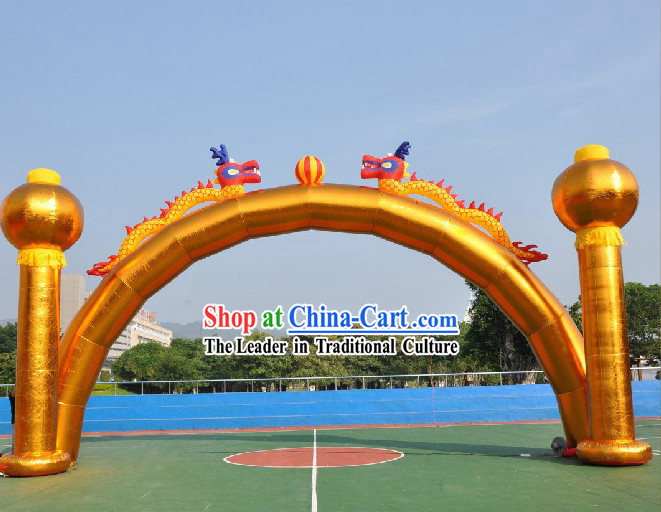 Large Golden Inflatable Araches with Dragons and Lanterns