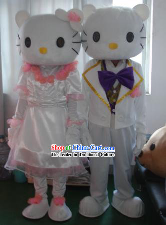 kitty Men or Women Mascot Costumes Complete Set