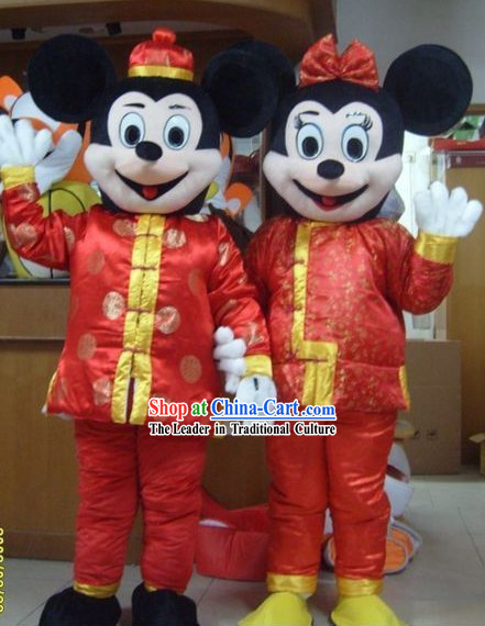 Chinese New Year Micky Men and Women Mascot Costumes 2 Complete Sets