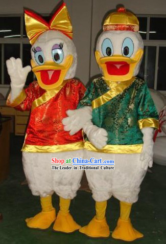Chinese Donald Duck Mascot Costumes 2 Complete Sets