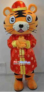 Chinese Tang Suit Tiger Mascot Costumes Complete Set