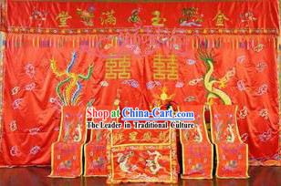 Dragon Phoenix Chair and Desk Covers Wedding Decoration Complete Set