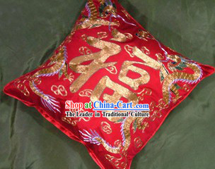 Chinese Traditional Dragon Phoenix Wedding Cushion
