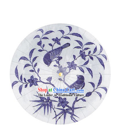 Chinese Hand Made Blue Bird Umbrella