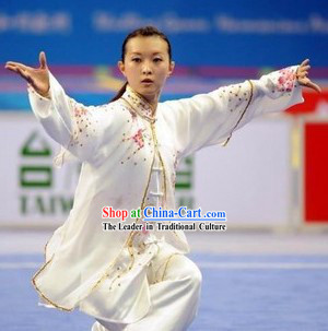 Top Grade Chinese Tai Chi Competition Champion Silk Suit Taichi Clothing Beijing Three Pieces Set