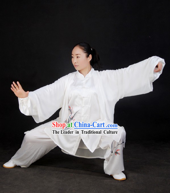 Chinese Silk Embroidered Tai Chi Suit and Cape Set