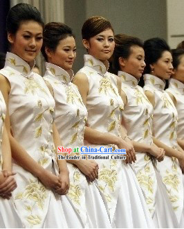 White Chinese Chorus Uniforms for Women