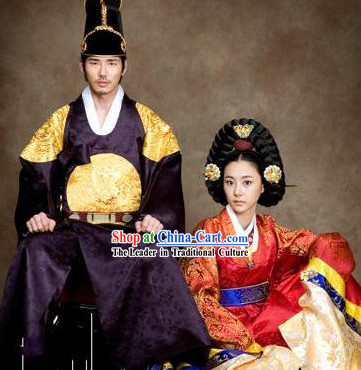 Ancient Korean Palace Hanbok Two Sets for Men and Women