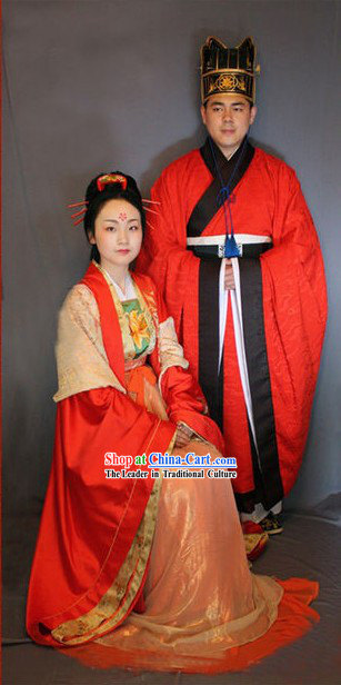 Tang Dynasty Wedding Dress Two Sets for Bride and Bridegroom