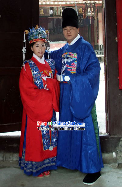 Ming Dynasty Wedding Dress 2 Sets for Bride and Bridegroom