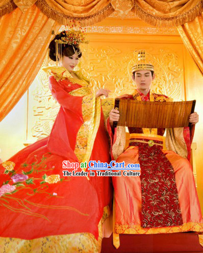 Traditional Chinese Bride and Bridegroom Wedding Dress and Hair Decoration 2 Sets