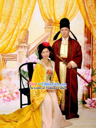 Traditional Chinese Wedding Dress Bride and Bridegroom 2 Sets