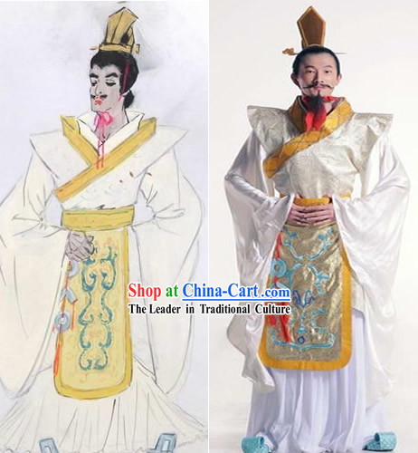 Ancient China Han Dynasty Emperor Clothing and Coronet Set