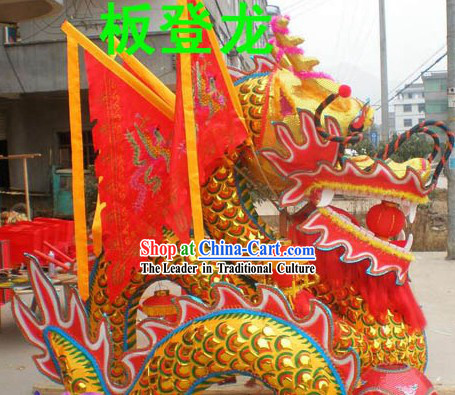 Handmade Dragon Set with Flags for Decoration Display and Collection