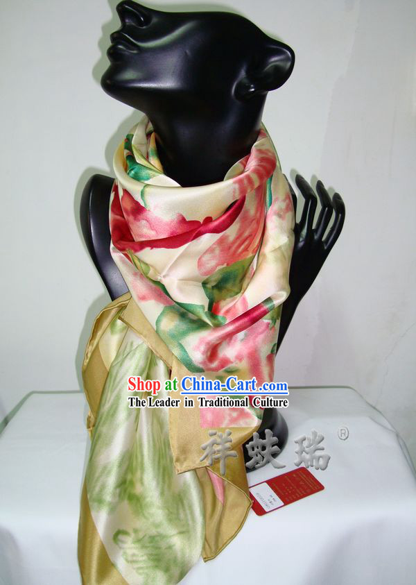 Chinese Rui Fu Xiang Silk Flower Scarf for Women