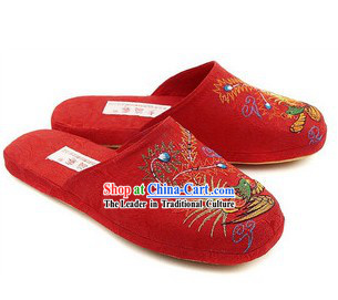 Chinese Handmade Bu Ying Zhai Red Embroidered Slippers for Women